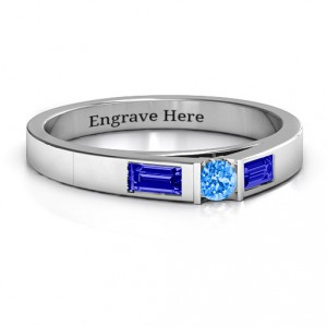 Personalised Solitaire Bridge Ring with Baguette Accents - Handcrafted By Name My Rings™