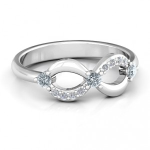 Personalised Three Stone Infinity Ring with Accents - Handcrafted By Name My Rings™