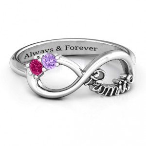Personalised Two Stone Promise Infinity Ring - Handcrafted By Name My Rings™