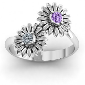 Personalised Sun Flowers Ring - Handcrafted By Name My Rings™