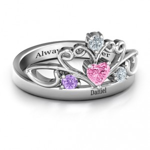 Personalised Tale Of True Love Tiara ring - Handcrafted By Name My Rings™