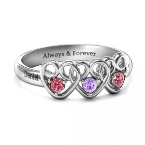 Personalised Three's Company Triple Heart Gemstone Ring - Handcrafted By Name My Rings™
