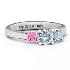 Personalised Three Stone Eternity with Princess Accents Ring - Handcrafted By Name My Rings™