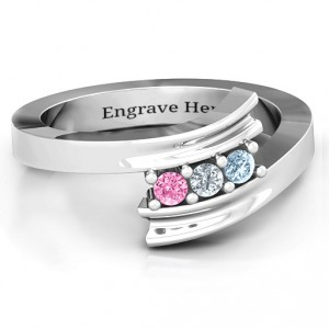 Personalised Three Stone Ridged Bypass Ring - Handcrafted By Name My Rings™
