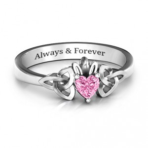 Personalised Trinity Knot Heart Crown Ring - Handcrafted By Name My Rings™