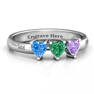 Personalised Triple Heart Stone Ring - Handcrafted By Name My Rings™