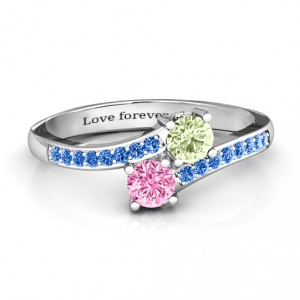 Personalised Two Stone Ring With Sparkling Accents And Filigree Settings - Handcrafted By Name My Rings™