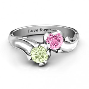Personalised Two Stone Sparkle Ring - Handcrafted By Name My Rings™