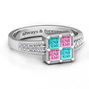 Personalised Vintage Princess Cut Ring with Shoulder Accents - Handcrafted By Name My Rings™