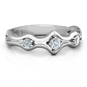 Personalised Wavy Trio Ring - Handcrafted By Name My Rings™