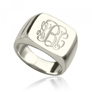 Personalised Engraved Square Designs Monogram Ring - Handcrafted By Name My Rings™