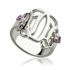 Personalised Birthstone Monogram Rings For Women - Handcrafted By Name My Rings™