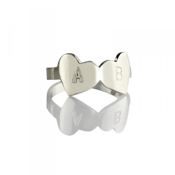 Personalised Double Heart Ring Engraved Letter - Handcrafted By Name My Rings™
