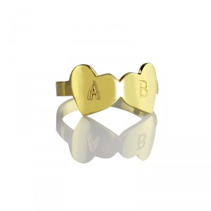 Personalised Custom Double Heart Ring Engraved Letter - Handcrafted By Name My Rings™