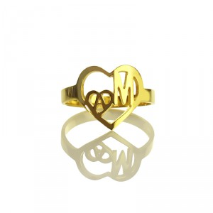 Personalised Heart in Heart Double Initial Ring - Handcrafted By Name My Rings™