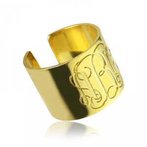 Personalised Script Monogram Cuff Ring Gifts - Handcrafted By Name My Rings™