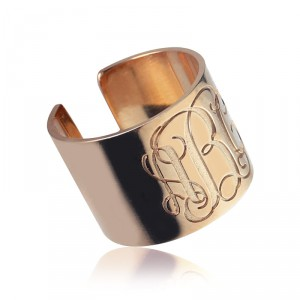 Personalised Engraved Monogram Cuff Ring - Handcrafted By Name My Rings™