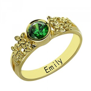 Personalised Flower Engagement Birthstone Name Ring - Handcrafted By Name My Rings™