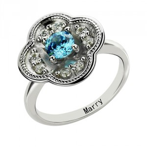 Personalised Birthstone Blossoming Love Engagement Ring - Handcrafted By Name My Rings™