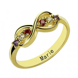 Personalised Infinity Promise Rings with Birthstone - Handcrafted By Name My Rings™