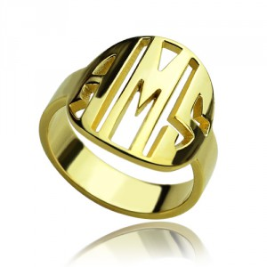 Personalised Block Circle Monogram Ring - Handcrafted By Name My Rings™