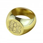 Personalised Engraved Circle Monogram Signet Ring - Handcrafted By Name My Rings™