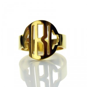 Personalised Circle Block Monogram 3 Initials Ring - Handcrafted By Name My Rings™