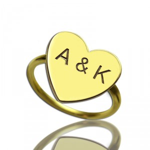 Personalised Engraved Sweetheart Ring with Double Initials - Handcrafted By Name My Rings™
