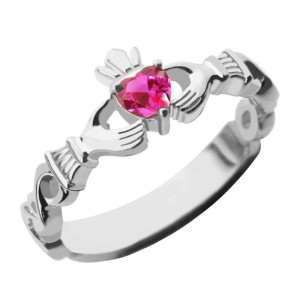 Personalised Ladies Claddagh Rings With Birthstone Name - Handcrafted By Name My Rings™