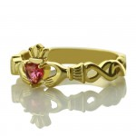 Personalised Ladies Modern Claddagh Rings With Birthstone Name - Handcrafted By Name My Rings™