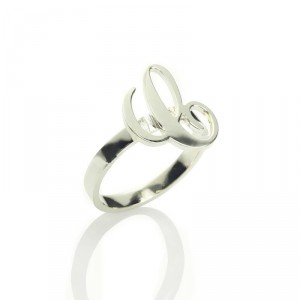 Personalised Carrie Initial Letter Ring - Handcrafted By Name My Rings™