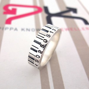Personalised Medium Barcode Ring - Handcrafted By Name My Rings™