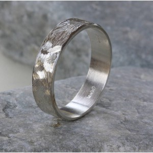 Personalised Handmade Unisex Textured Band Ring - Handcrafted By Name My Rings™